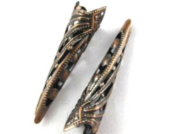 10pcs 35mm antique copper finish filigree cone caps-2653m