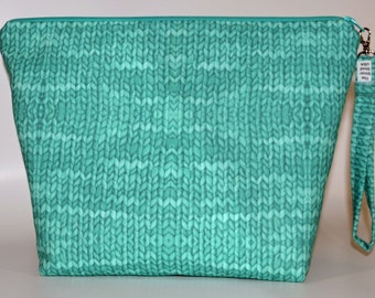 Designer Knit Purl Teal print project bag