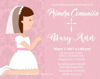 Primera Comunion -First Communion Invitation - Printable Print at Home Personalized (Digital File) DIY