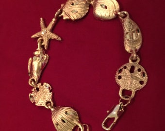 Gold Link Bracelet, Seashell Design, Costume Jewelry with Beach Charm