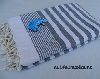 Turkish black and white striped soft cotton terry and flat surfaced sytle bath towel, beach towel, yoga towel, spa towel, travel towel.