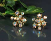 Vintage Austrian Rhinestone Starburst Earrings - Screw Back Atomic Starbust Mid Century Aurora Borealis Rhinestone Earrings - Star Earrings