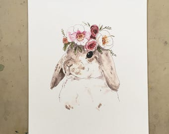 Brown Rabbit with Flower Crown