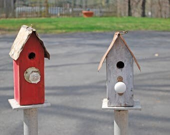 Cute little wren birdhouse from salvaged and repurposed materials