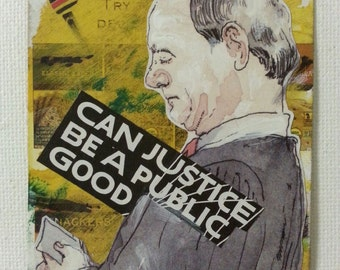 sale aceo WHERE'S MY JUSTICE? 2 original collage kimartist illustration man modern politics political pop yellow gray black white sfa ows