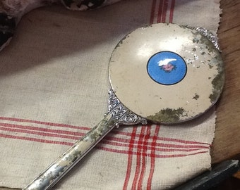 Vintage Hand Mirror with Cloisse FLower on Back