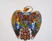 """Bald Eagle Bird Iron On Fabric Applique 8 1/2"""""""