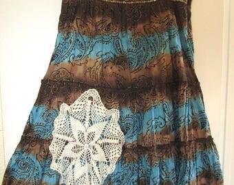 Country Hippie Doily Skirt Upcycled Gypsy Plus SZ 1X 2X