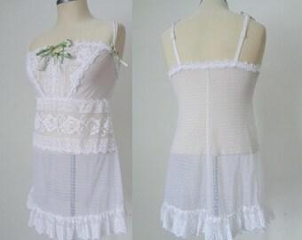 Vtg 90s ITALIAN Dreamy WHITE Lace Boudoir Slip by LORMAR, Small to Medium