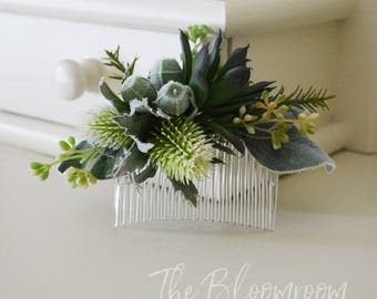 Woodland hair comb / Succulent hair comb / Thistle hair comb / Green / Sage green / Woodland wedding / Gift for daughter / Wedding comb