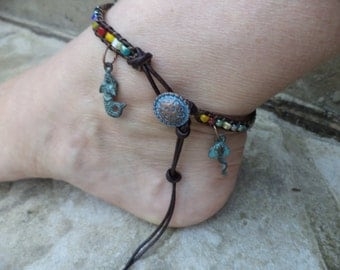 Mermaid Anklet Stingray Anklet Mermaid Jewelry Stingray Jewelry Boho Chic Bohemian Anklet Bohemian Jewelry Leather Anklet Leather Jewelry
