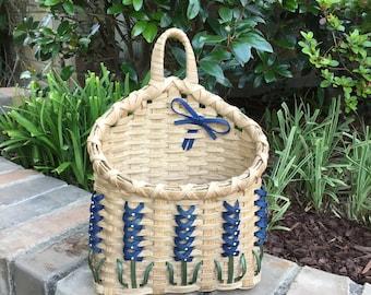 Texas Bluebonnet Mail Basket Bluebonnet Basket Made in Texas Wall Basket Bluebonnet Basket Made in USA Texas Basket