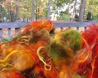 Fiber, Locks, Long, Dyed, Tailspinning, Icelandic, Doll Hair, Spin, Felt, Fleece, Leaf Pile