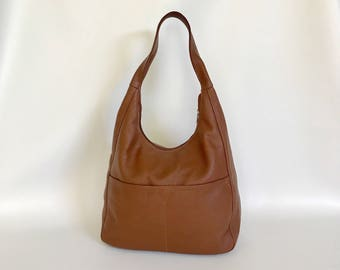 Brown Leather Hobo Bag Purse, Slouchy Fashion Shoulder Handbag, coco