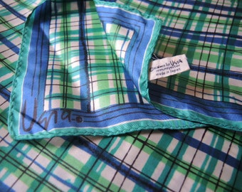 Vintage 1970s Vera scarf polyester blue and green plaid 21.5 x 22inches
