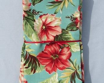 Teal Hawaiian Floral Set of 6 Cotton Napkins