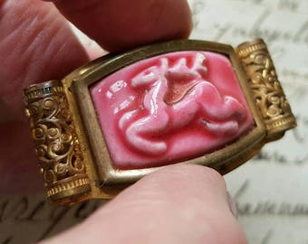 Stunning Antique French Pink Ceramic Art-Deco Oblong Gilt Brooch-Leaping Deer-Beautiful Shape & Gilt Filigree Design,Susie Cooper Style....