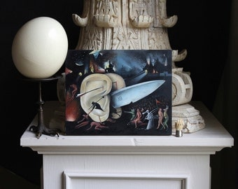 MoonsCuriousItems-  SALE-Oil Painting On Wood Panel -Hell-after Hieronymus Bosch-8 inches by 10 inches