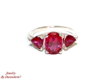 Three Stone Ruby Ring, Lab Created Ruby Ring, Sterling Silver Anniversary Ring, Size 7 Ring