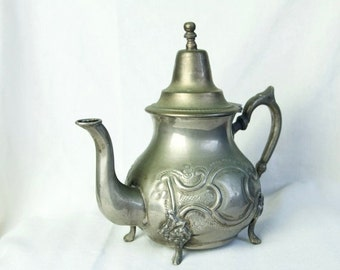 Black Friday SALE... Vintage Middle Eastern teapot…metal teapot...signed in Arabic.