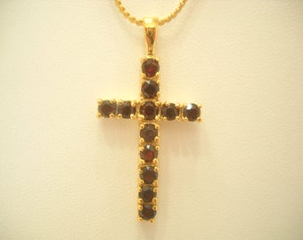 Gorgeous Ruby Red Rhinestone Cross Pendant Necklace (6317)