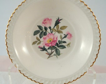 Vintage Harker Pottery Wild Rose Berry Bowl Shabby Cottage Vintage Wedding Bridal Shower
