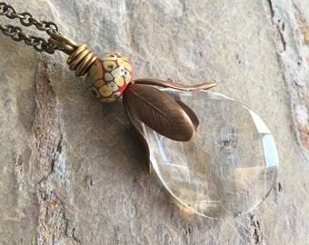 Vintage glass pendant necklace, artisan lampwork glass, brass necklace