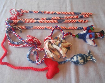 CAT TOYS on an American flag pole to play with your Kitty