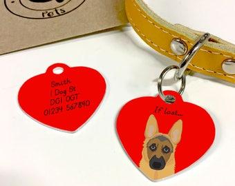 German Shepherd Personalised Heart Dog Tag - Alsatian Dog Tag - Dog Collar Charm
