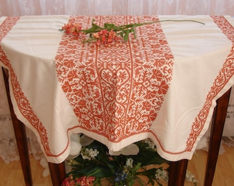 Table cover, table topper, Greek Table cover, Made in Greece, Vintage European tablecloth, Table linen, 30x32 approx, Embroidered detailing