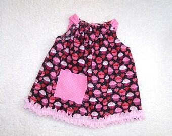 Girls Pillowcase Dress, Pink Cupcake Dress, 12 to 18 Months, Ready to ship