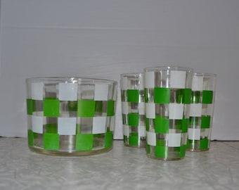 Retro Checkered Ice Bucket Glass Set of 4 ~ Green White Ice Bucket ~ Vintage Barware ~ Epsteam
