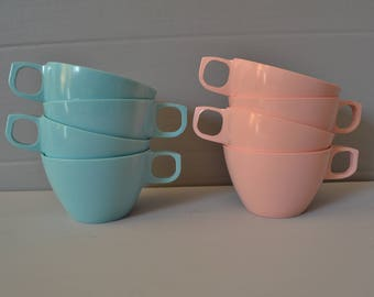Malo Ware Turquoise & Pink Tea Cup Set of 8 ~ Vintage Plastic Dinnerware ~ Mid Century Kitchen ~  Epsteam