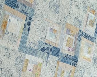 "Wall hanging art quilt, ""Eight bridges"", neutral colour, Japanese style quilt"