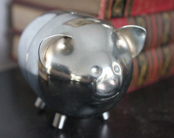 1970's 2 piece Vintage Stainless Steel Piggy Bank, Classic piggy bank