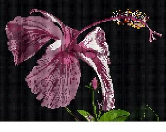Needlepoint Kit or Canvas: Elegant Hibiscus