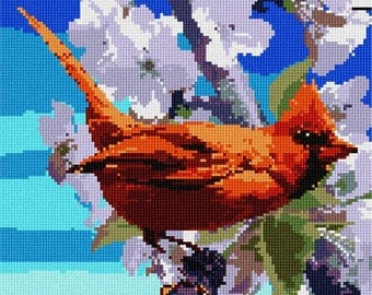 Needlepoint Kit or Canvas: Cardinal And Spring Flowers