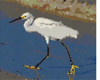 Needlepoint Kit or Canvas: Snowy Egret