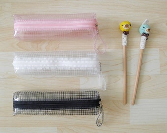 Black // White // Pink  CLEAR GRID  pvc zipper pencil case,geometric, graphic pencil bag, rectangle shape,waterproof,see through,transparent