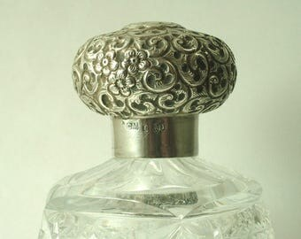 Antique/ estate, Edwardian 1900s British hallmarked, Charles May, sterling silver repousse lid and cut crystal bottle - 1911