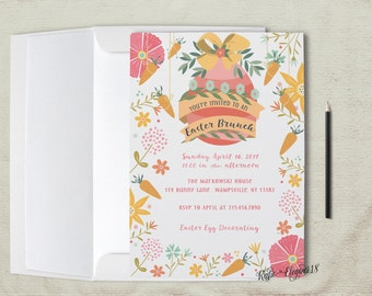 Easter Brunch Invitation.Brunch Invite.4x6 or 5x7 inches