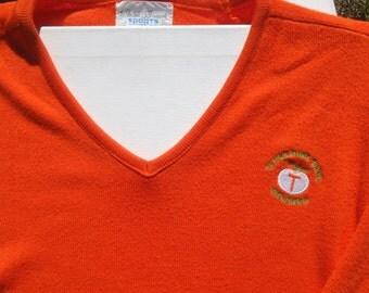 Vintage 1980s Tangerine Bowl Orlando Florida Orange V-Neck Sweater