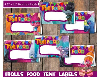 Trolls Theme Food Tent Labels