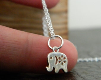 Genuine 925 Sterling Silver Super Cute Tiny Small Elephant Charm Pendant Necklace.Gift