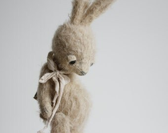SALE 30% OFF Stuffed Animal Fluffy Bunny Rabbit Mohair Handmade Toy Gift For Her 7 Inches FREE Shipping