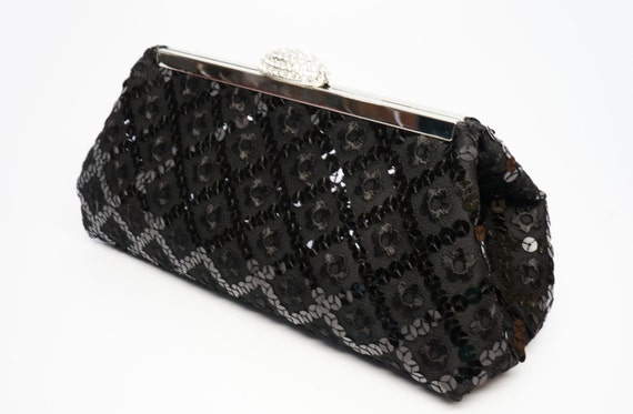 Black Evening Clutch Purse - Vintage Old Hollywood Sequin Lace Rhinestone -Bridesmaid/Wedding/Evening Handbag - Includes Crossbody Chain