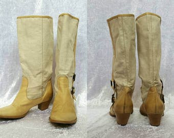 CANVAS AND LEATHER Boots Heels Womens Boots Vintage Beige Boots Genuine Leather Womens Boots Cowgirl Boots