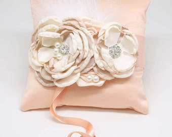 Peach Ring Pillow Ivory Champagne Dog Ring Bearer Collar, Summer wedding