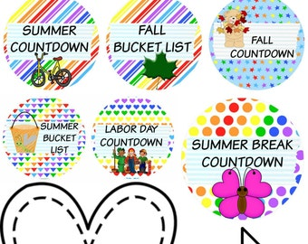 108 Planner Stickers -- Countdowns for Summer, Fall, Labor Day, Fourth of July, Back to School and much more!