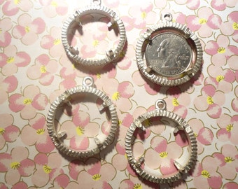 4 Vintage Silverplated U.S. Quarter Holders Bezels Pendants